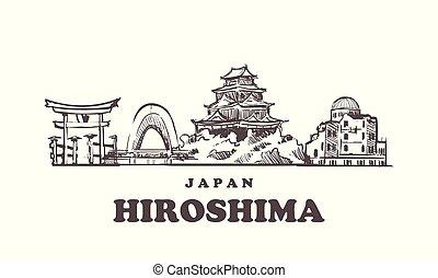 mano, japón, dibujado, skyline., hiroshima, hiroshima,...