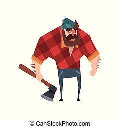 mano., jeans, allegro, suo, disegno, blu, carattere, foresta, rosso, il portare, appartamento, barbuto, checkered, camicia, worker., hat., uomo forte, taglialegna, vettore, ascia, tagliaboschi
