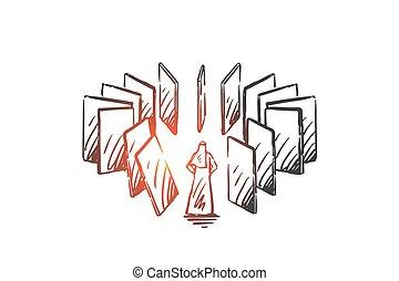 mano, karma, efecto, vector, concepto, dibujado, sketch., aislado, dominó