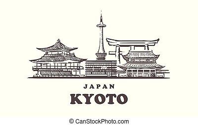 mano, kyoto, kyoto, japón, dibujado, skyline., vector,...
