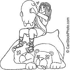 mano., león, david, oso, sheep, descubierto, el suyo, vida, excepto