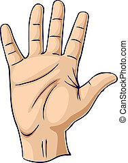 mano levantada, en, un, mano abierta, gesto