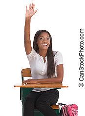 mano levantada, norteamericano, africano, colegiala, clase