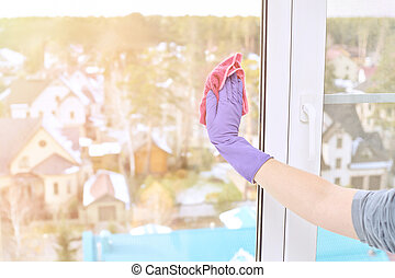 mano, limpieza, protector, ventana, guante
