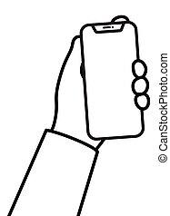 mano, lineal, teléfono celular