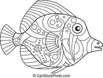 mano, lineare, oceano, fish, theme., drawing., libro, offline., antistress, coloritura, vettore, tropicale, immagine, coloring., -, abitante, monaco