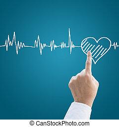mano, médico, con, corazón, pulso