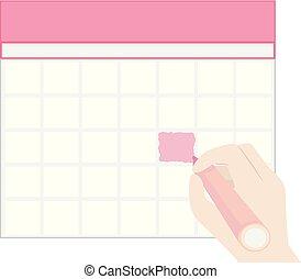 mano, marchio, illustrazione, uno, colorare, calendario