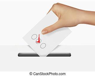 mano, mettere, uno, votazione, scheda elettorale