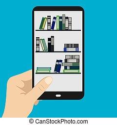 mano, mobile, smartphone, telefono, e-libro