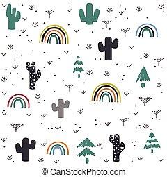mano, modello, cactus, arcobaleno, disegnato