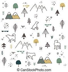 mano, modello, disegnato, cani, montagna