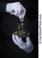 mano, moneta, tiri, vaso