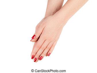 mano., mujer, fingernail.