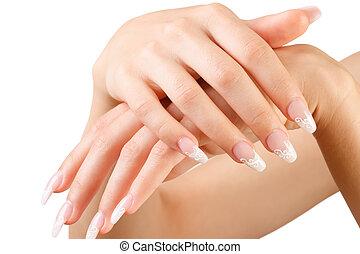 mano., mujer, fingernail., el gesticular, manicura