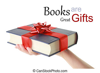 mano mujer, sujetar un libro, para, regalo