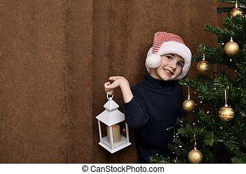 mano, navidad, niño, el suyo, alegremente, se imagina, árbol.