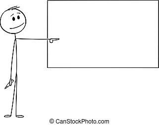 mano, o, indicare, uomo affari, uomo, whiteboard, cartone animato, insegnante, vuoto, illustrazione, vettore, pennarello