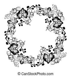 mano, orchids., rotondo, disegnato, floreale, cornice, monocromatico