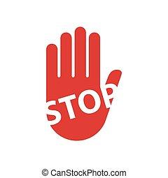 mano, parar la muestra