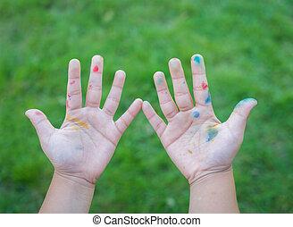 mano, pintado, niño