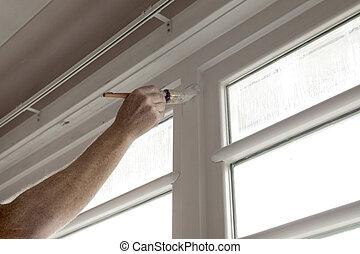mano, pintura, de madera, ventana