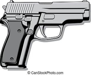 mano, (pistol), arma de fuego, moderno