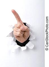 mano, por, el, agujero, en, papel