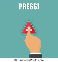 mano, prensa, en, peligro, advertencia, luces, destellos, botón, en coche