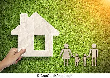 Casa presa verde famiglia mano famiglia casa mano for Aprire piani casa concetto