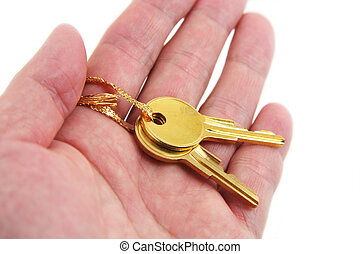 mano, presa, dorato, chiave