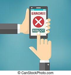 mano, presa, far male, telefono, con, errore, su, il, screen.