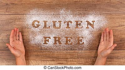 mano, presentare, il, gluten, libero, alternativa