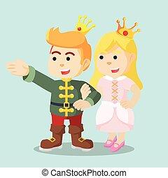 mano, principe, presa a terra, principessa