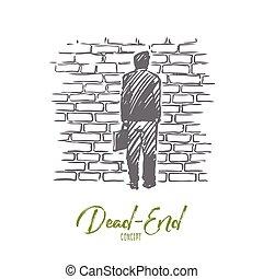 mano, problema, vector., muerto - extremo, concept., reflexionar, callejón sin salida, aislado, dibujado