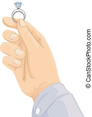 mano, proposta, anello diamante