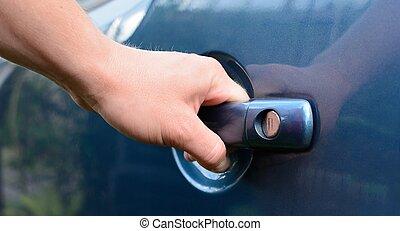 mano, puerta de automóvil de inauguración
