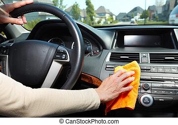 mano, pulizia, automobile.