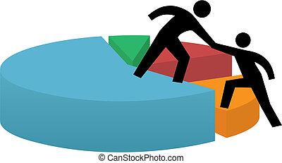 mano que ayuda, a, gráfico circular, empresa / negocio,...