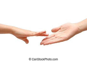 mano que ayuda, blanco, aislado, backgrund