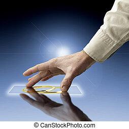 mano, raggiungimento, immagini, flusso continuo, da, futuro, schermo