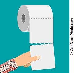 mano., rollo de papel, servicio, blanco