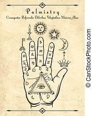 mano, símbolos, quiromancia, vendimia