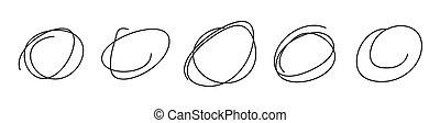 mano, scarabocchiare, disegnato, set, stile, scarabocchio, cerchi, schizzo
