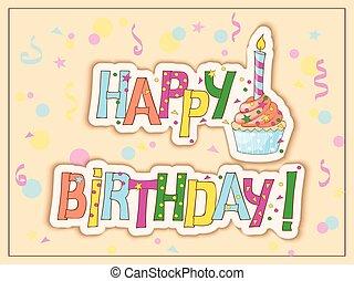 mano, scheda, torta, disegnare, candela, testo, compleanno