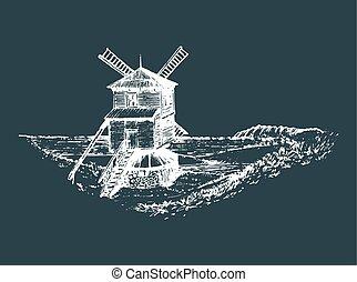 mano, schizzo, di, rustico, mulino vento, in, fields., vettore, paesaggio rurale, illustration., mediterraneo, campagna, manifesto, card.
