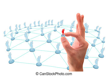 mano, señalar a, social, red, conexión