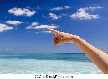 mano señalar con el dedo, a, el, cielo