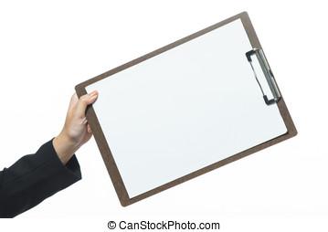 mano, sfondo bianco, isolato, affari