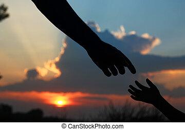 mano, silhouette, bambino, genitore, prese